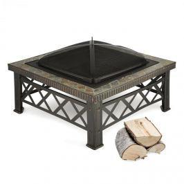 Blumfeldt Boston, befeketített, tűzhely, 75 x 75 cm, grillező rostély, csempézett dizájn, acél