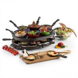 OneConcept Woklette asztali grillező, raclette grillező, wok készlet, 1200 W, 8 személy, tapadásmentes