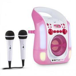 Auna Kara Illumina karaoke rendszer, CD, USB, MP3, LED fény show, 2 x mikrofon, hordozható, rózsaszín