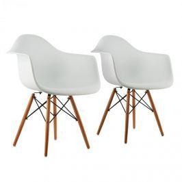 OneConcept Bellagio, fehér, kagylóüléses szék, 2 darabos készlet, retro, PP ülőke, nyírfa