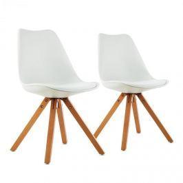OneConcept Onassis, fehér, kagylóüléses szék, 2 darabos készlet, retro, kárpitozott, nyírfa