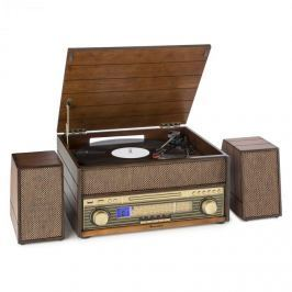 Auna Epoque 1909, retro audio rendszer, gramofon, kazetták, bluetooth, USB, CD, AUX