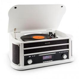 Auna Belle Epoque 1908 DAB, fehér, retro sztereó rendszer, gramofon, DAB+, bluetooth