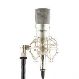 OneConcept Mic-700 stúdió mikrofon, Ø 34 mm, univerzális, pók, szél elleni védelem, XLR, ezüst