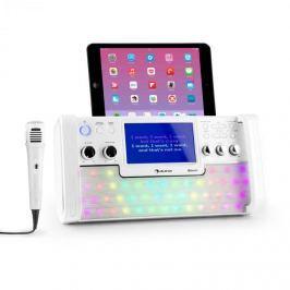 "Auna DiscoFever, fehér, bluetooth karaoke rendszer, LED, 7"" TFT kijelző, CD, USB"