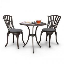 Blumfeldt Valletta, háromrészes bisztró készlet, asztal, 2 szék, alumíniumöntvény, bronzbarna