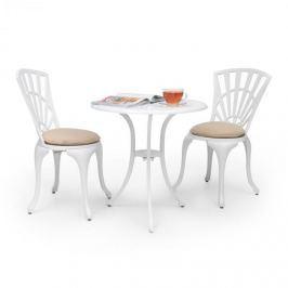 Blumfeldt Valletta, háromrészes bisztró készlet, asztal, 2 szék, alumíniumöntvény, fehér