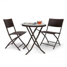Blumfeldt Before Sunrise, háromrészes készlet, LED, rattan, bisztró készlet, asztal, 2 szék, barna