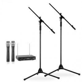 Electronic-Star Vezeték nélküli mikrofonok készlete, állvánnyal, 2 VHF rádió mikrofon, 2 állvány, fekete