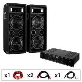 Electronic-Star DJ PA szett DJ-24, PA erősítő, hangfalak, kábel, 1200 W