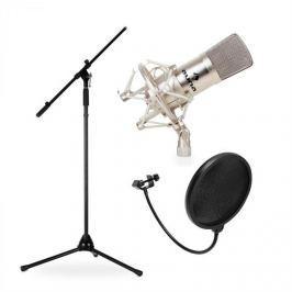 Auna CM001S, stúdió/színpadi mikrofon készlet, kondenzátoros mikrofon, állvány és szélvédő