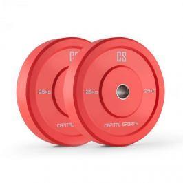 CAPITAL SPORTS Nipton Bumper Plates, piros, 25 kg, pár súlyzótárcsa, keménygumi