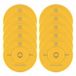 CAPITAL SPORTS Nipton Bumper Plates, sárga, 5 pár, 15 kg, keménygumi