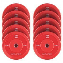 CAPITAL SPORTS Nipton Bumper Plates, piros, 5 pár, 25 kg, keménygumi