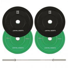 CAPITAL SPORTS Nipton Mens Set I, olimpiai rúd, 2 pár súlyzótárcsa, 5 kg és 10 kg