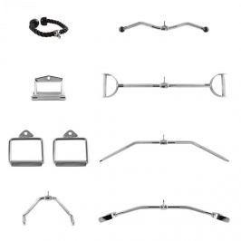 CAPITAL SPORTS APITAL SPORTS Mastergym kábelhúzó fogantyú készlet, 7 darab, krómozott acél, nylon kötél