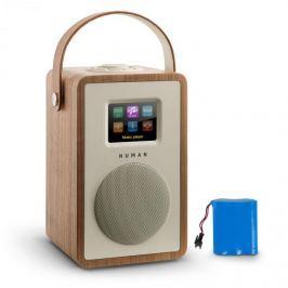 NUMAN Mini Two, design internetrádió, WiFi, DLNA, bluetooth, FM, diófa, tölthető akkumulátor mellékelve