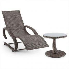Blumfeldt Daybreak, barnásszürke, hintaszék + asztal, kerti bútor készlet, fonott kosár hatás