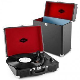 Auna Peggy Sue Record Collector szett, fekete | retró lemezjátszó |lemeztartó bőrönd