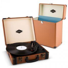 Auna Jerry Lee Record Collector szett, barna | retró lemezjátszó |lemeztartó bőrönd