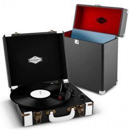 Auna Jerry Lee Record Collector szett, fekete | retró lemezjátszó |lemeztartó bőrönd