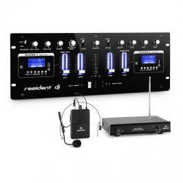 Resident DJ DJ405USB-BK 4 csatornás DJ keverőpult, rádió mikrofon készlet headsettel mellékelve
