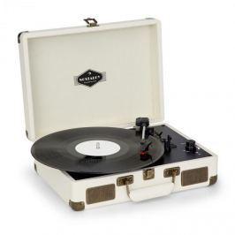 Nostalgy By Auna Peggy Sue retró lemezjátszó, gramofon, USB, AUX, krémszínű/sárgaréz hatás