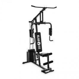 Klarfit Strongbase, fekete, multifunkciós edzőgép, edző állomás, 100 font/45 kg, acél