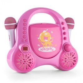 Auna Rockpocket-A PK gyerek karaoke rendszer, CD, AUX, 2 x mikrofon, tölthető akkumulátor, rózsaszín