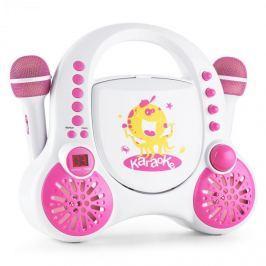 Auna Rockpocket-A WH gyerek karaoke rendszer, CD, AUX, 2 x mikrofon, tölthető akkumulátor, fehér