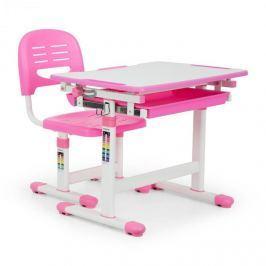 OneConcept Annika gyerek íróasztal, kétrészes készlet, asztal, szék, állítható magasságú, rózsaszín
