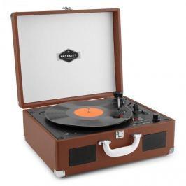 Auna Peggy Sue CD, hordozható CD retró gramofon, CD, USB, SD, sötétbarna