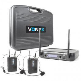 Vonyx WM73H, vezeték nélküli mikrofon rendszer, 2-csatornás, 2 x zsebadó headsettel