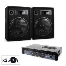 Malone Boom DJ PA szett, erősítő, hangfal, kábel, 1200W