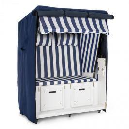 Blumfeldt Hiddensee strandkosár, ülőhely strandra, 2 ülés, 118 cm, védőburkolat, kerekek, kék-fehér