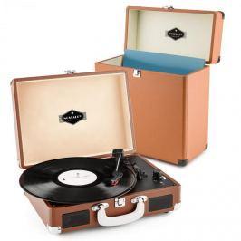 Auna auna Peggy Sue Record Collector szett, barna | retró lemezjátszó |lemeztartó bőrönd