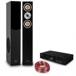 """Auna """"Briliant Black"""", HiFi készlet, HiFi erősítő + 2 oszlop hangfal + kábel"""