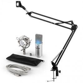 Auna auna MIC-900S-LED USB mikrofon szett V3 kondenzátoros mikrofon + mikrofontartó kar, LED, ezüst