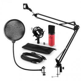 Auna MIC-900RD, v4 USB mikrofon készlet, vörös, kondenzátoros mikrofon, POP szűrő, mikrofonkar