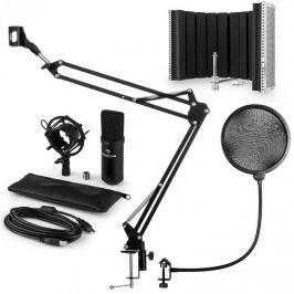 Auna MIC-900B, V5 USB mikrofon készlet, fekete, kondenzátoros mikrofon, POP szűrő, akusztikai lencse, kar