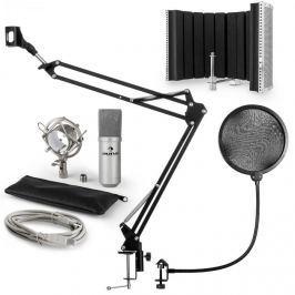 Auna MIC-900S, V5 USB mikrofon készlet, ezüst, kondenzátoros mikrofon, POP szűrő, akusztikai lencse, kar