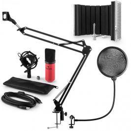 Auna MIC-900RD, V5 USB mikrofon készlet, vörös, kondenzátoros mikrofon, POP szűrő, akusztikai lencse, kar