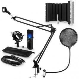 Auna MIC-900B-LED, V5 USB mikrofon készlet, fekete, kondenzátoros mikrofon, POP szűrő, akusztikai lencse, kar
