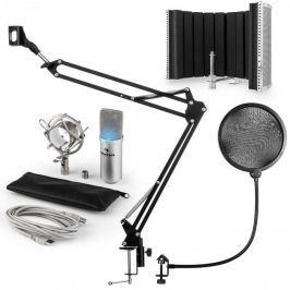 Auna MIC-900S-LED, v5 USB mikrofon készlet, ezüst, kondenzátoros mikrofon, POP szűrő, akusztikai lencse, kar