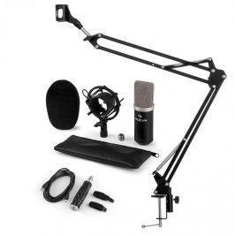 Auna auna CM003 mikrofon szett V3 kondenzátoros mikrofon, USB-konverter, mikrofontartó kar, fekete