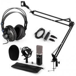 Auna auna CM003 mikrofon szett V3 kondenzátoros mikrofon, USB-konverter, fejhallgató, fekete