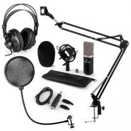 Auna CM003 mikrofon készlet V4, fekete, kondenzátoros mikrofon, USB átalakító, fülhallgató, mikrofonkar, POP szűrő