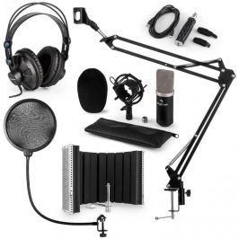 Auna CM003 mikrofon készlet V5, fekete, kondenzátoros mikrofon, USB átalakító, fülhallgató, mikrofonkar, POP szűrő, akusztikai lencse