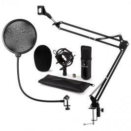 Auna CM001B mikrofon készlet V4, fekete, kondenzátoros mikrofon, mikrofonkar, POP szűrő