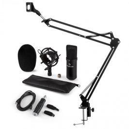 Auna CM001B mikrofon készlet V3, kondenzátoros mikrofon, USB-adapter, mikrofonkar, fekete